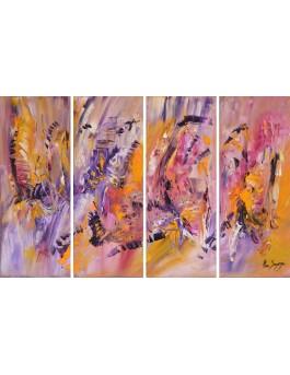 Les oiseaux du printemps - tableau abstrait violet et jaune en 4 parties