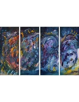 La beauté de l'univers - tableau en 4 parties