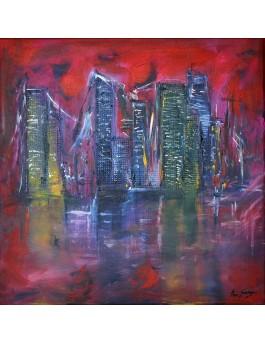 Le reflet de la nuit - peinture ville abstraite