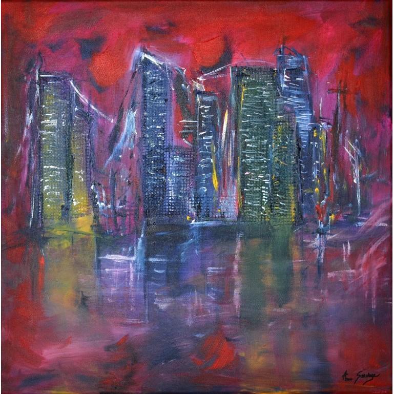 tableau abstrait rouge ville