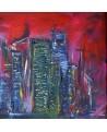 tableau abstrait de ville rouge
