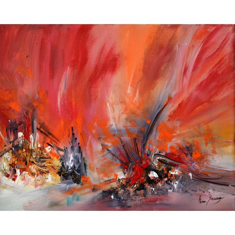 peinture abstraite orange fleurs