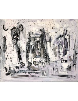 Une ville sous la neige - tableau contemporain gris noir et blanc