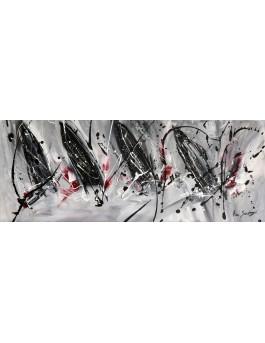 Accord parfait - tableau abstrait gris rouge