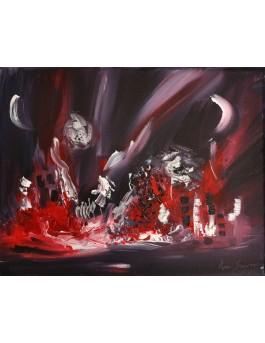 tableau abstrait gris rouge