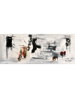 Plongée dans l'irréel - tableau abstrait noir et blanc