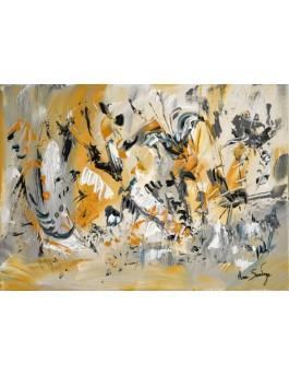 peinture florale  L'envol de l'argus bleu