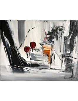 L'art du pianiste - tableau abstrait gris