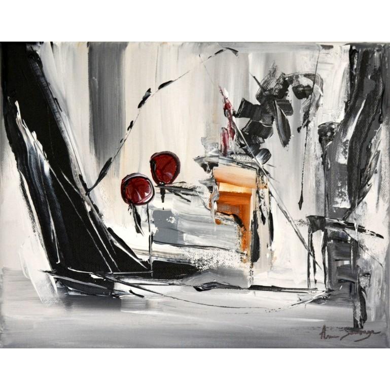 tableau moderne gris noir blanc rouge