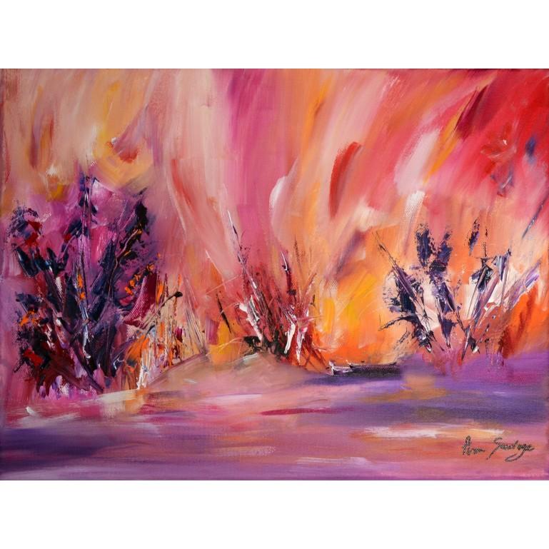 tableau fleurs orange rouge violet