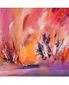 tableau abstrait orange rouge violet fleurs