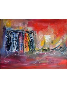 La ville au bord de l'eau, peinture urbaine
