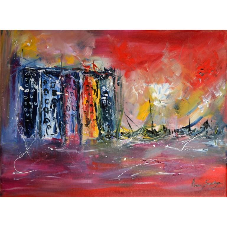 tableau abstrait ville au bord de l'eau