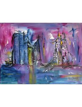 Les cités jumelles - peinture ville abstraite