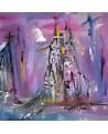 peinture abstraite rose violet ville