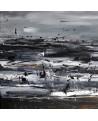 tableau abstrait noir et blanc mer