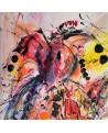 tableau abstrait vertical orangé l'oiseau du bonheur
