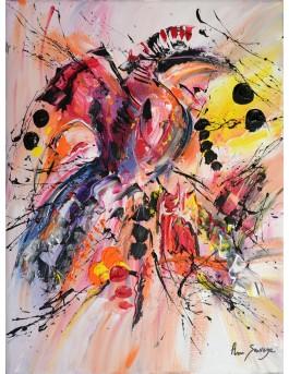 L'oiseau du bonheur - tableau abstrait coloré