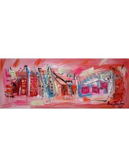 La ville de lola - tableau panoramique rose