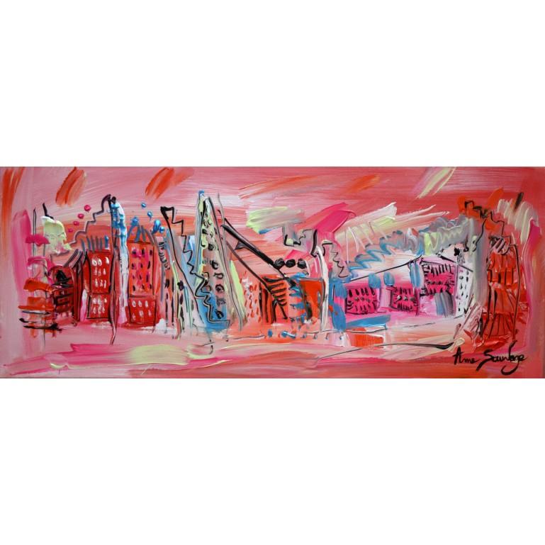 Tableau panoramique rose