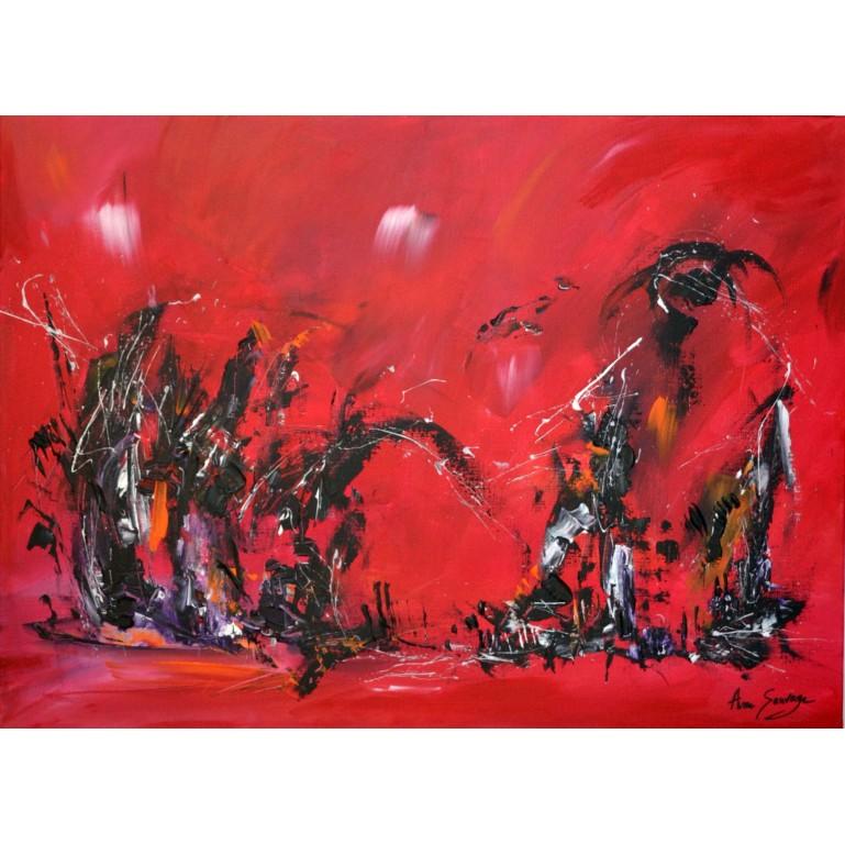Peinture abstraite rouge noir