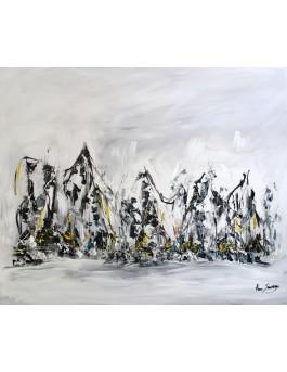 Ensemble - tableau abstrait gris noir blanc contemporain
