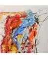 grand tableau moderne orange jaune bleu rouge