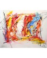 grand tableau abstrait contemporain multicolore