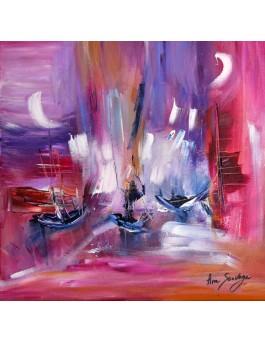 Vers le nouveau monde - Tableau abstrait rose violet