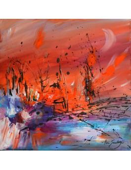 La création - tableau abstrait orange