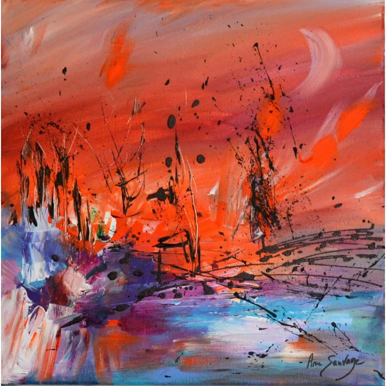 La création - Peinture abstraite orange moderne