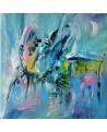 tableau abstrait bleu vert d'eau