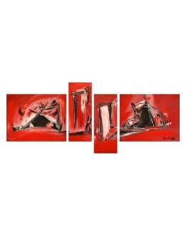 tableau rouge et noir quadriptyque