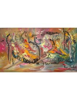 Confettis et serpentins - tableau multicolore