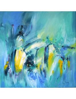 La beauté du présent - tableau abstrait bleu jaune et vert d'eau