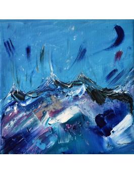 Tableau moderne bleu montagnes