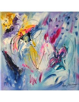 Peinture abstraite colorée arc en ciel