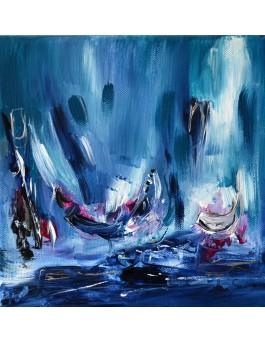Le calme intérieur - tableau abstrait bleu