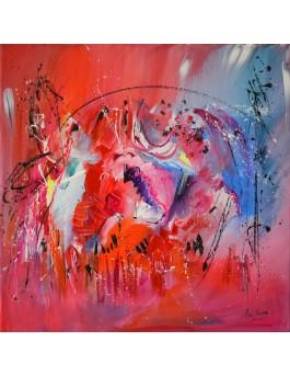 La métamorphose du papillon - toile abstraite rouge et bleu