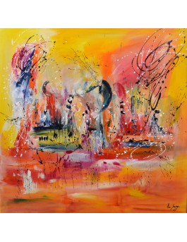 grand tableau abstrait orange design