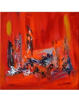 Le travail du coeur - tableau abstrait rouge