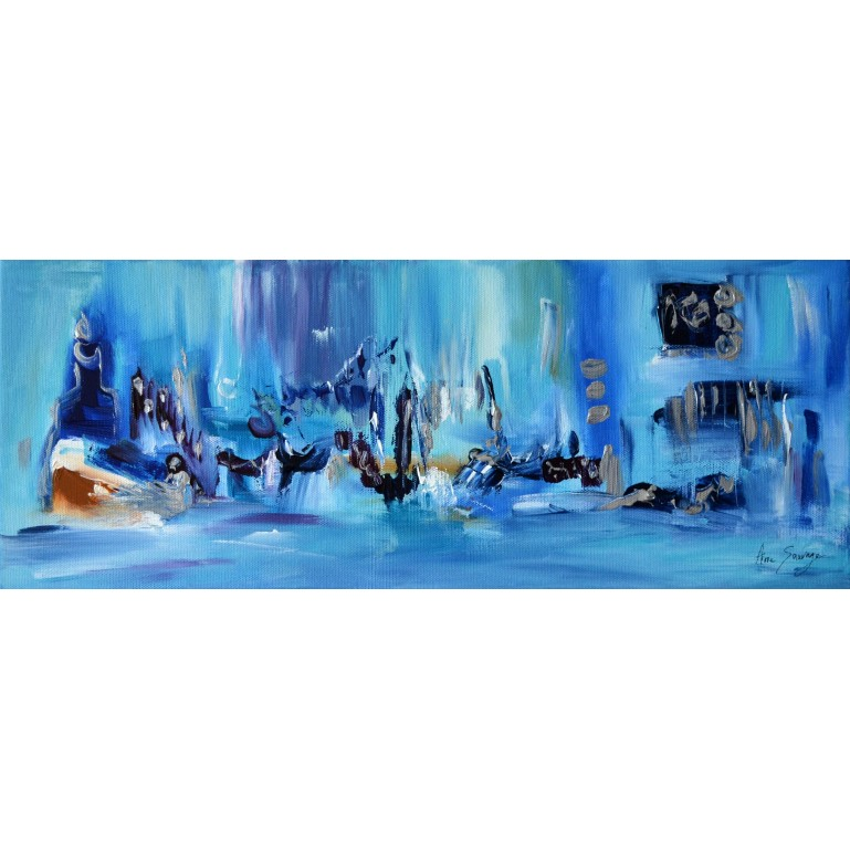 Tableau panoramique bleu et or