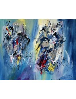 Portrait de l'imaginaire : délices - tableau abstrait moderne bleu