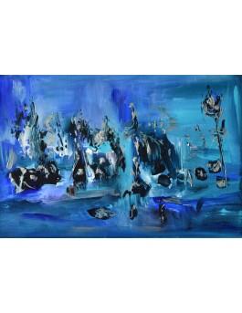 peinture abstraite bleu moderne