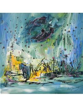 Un festival sous la mer - tableau contemporain bleu vert jaune
