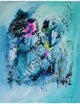tableau abstrait vertical bleu