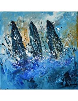 Course de voiliers - Peinture marine moderne au couteau