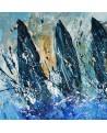 Course de voiliers - Peinture abstraite au couteau