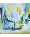 triptyque abstrait vert et bleu