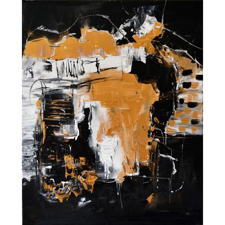 tableau noir et doré abstrait